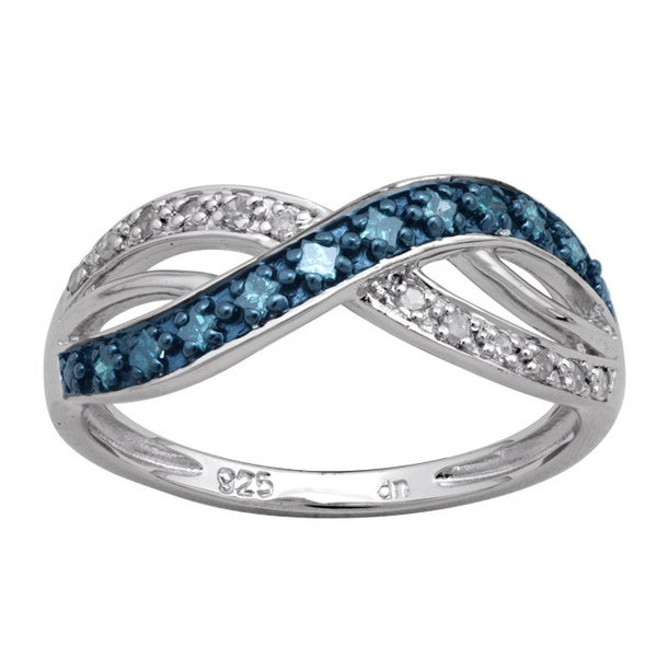 Sterling Silver 1/4ct TDW Blue Diamond Intertwined Fashion Ring (H-I, I3)