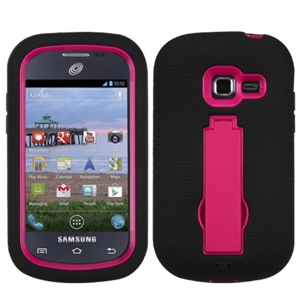 INSTEN Hot Pink/ Black Phone Case Cover with Stand for Samsung S738C Galaxy Centura