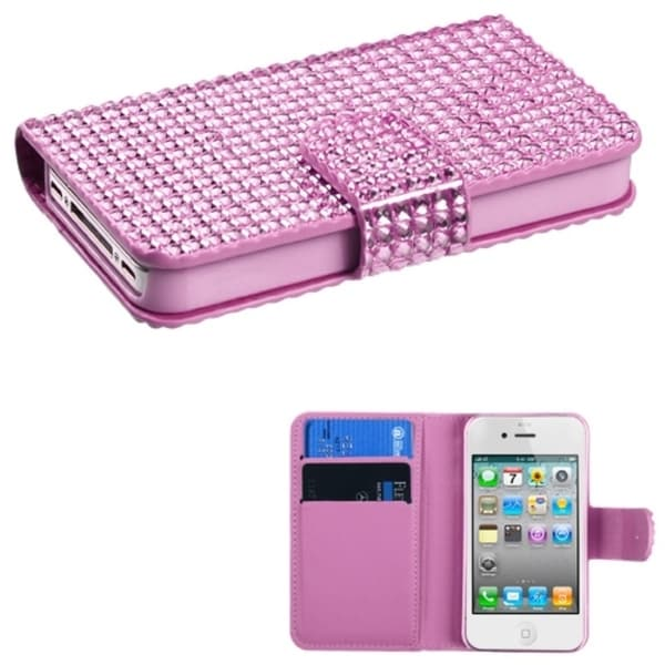 INSTEN Pink Diamante Wallet-Style Phone Case Cover for Apple iPhone 4/ 4S