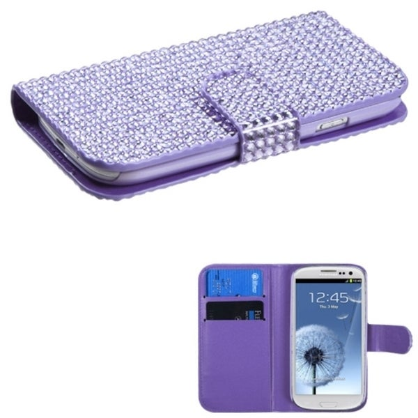INSTEN Purple Diamante Phone Case Cover for Samsung Galaxy S3