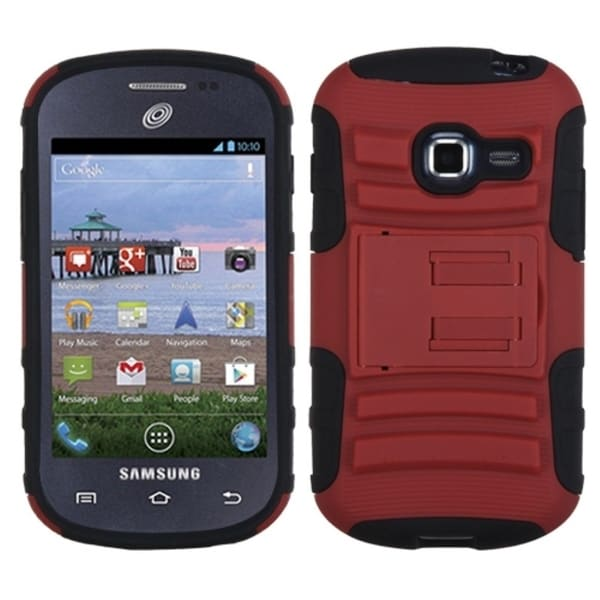 INSTEN Red/ Black Phone Case Cover with Stand for Samsung S738C Galaxy Centura