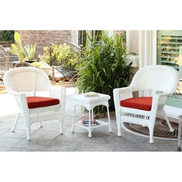 Shop 3 Piece White Wicker Bistro Set Free Shipping Today