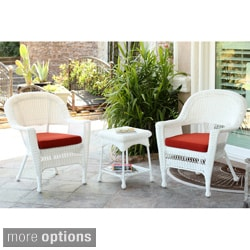 3-piece White Wicker Bistro Set