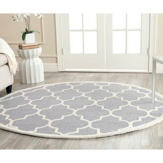 Safavieh Handmade Moroccan Cambridge Silver/ Ivory Wool Rug (10' Round)