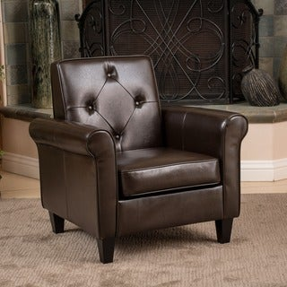 Link to Isaac Tufted Brown Leather Club Chair by Christopher Knight Home Similar Items in Living Room Furniture