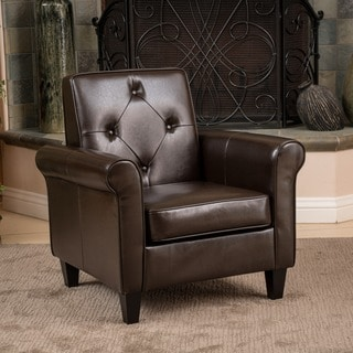Isaac Tufted Brown Leather Club Chair by Christopher Knight Home