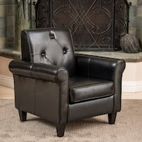 Isaac Tufted Black Leather Club Chair by Christopher Knight Home