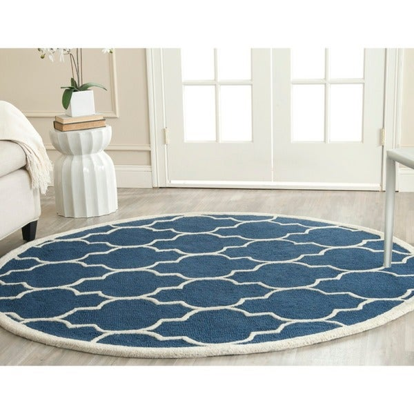 Safavieh Handmade Moroccan Cambridge Navy Ivory Wool Rug 4 39 Round Free Shipping Today