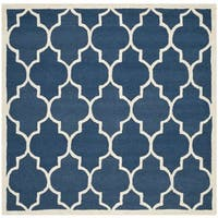 Safavieh Handmade Moroccan Cambridge Navy/ Ivory Wool Rug - 8' Square