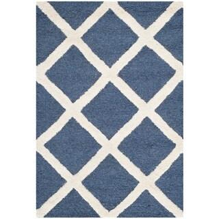 Safavieh Handmade Moroccan Cambridge Navy/ Ivory Wool/ Latex Rug (3' x 5')