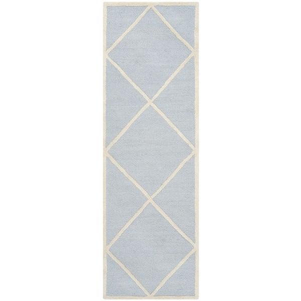 "Safavieh Handmade Moroccan Cambridge Light Blue/ Ivory Wool Rug - 2'6"" x 6'"