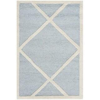 Safavieh Handmade Moroccan Cambridge Light Square Pattern Blue/ Ivory Wool Rug (3' x 5')