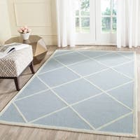 Safavieh Handmade Moroccan Cambridge Light Blue/ Ivory Wool Rug with High/ Low Construction - 9' x 12