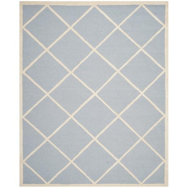 Safavieh Handmade Moroccan Cambridge Light Blue/ Ivory Wool Rug with High/ Low Construction - 9' x 12