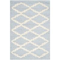 Safavieh Handmade Moroccan Cambridge Light Blue/ Ivory Wool Rug - 3' x 5'