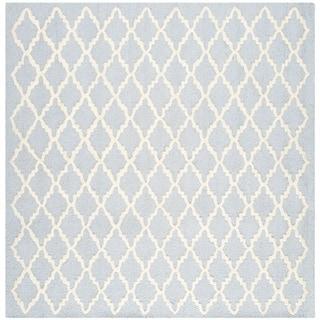 Safavieh Handmade Moroccan Cambridge Light Blue/ Ivory Wool Area Rug (4' Square)