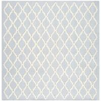 Safavieh Handmade Moroccan Cambridge Light Blue/ Ivory Wool Area Rug - 4' Square