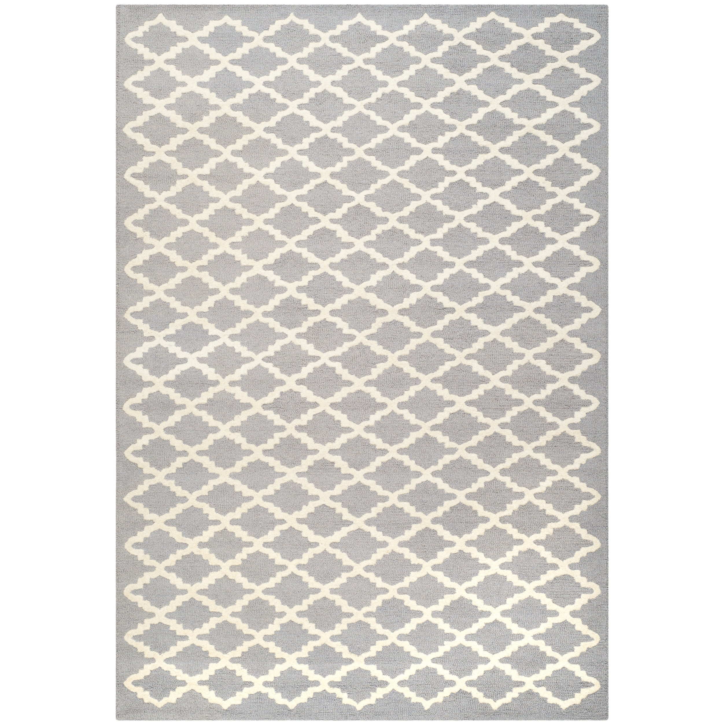 Contemporary Safavieh Handmade Moroccan Cambridge Silver/ Ivory Wool Rug (5' x 8')