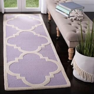 Safavieh Handmade Moroccan Cambridge Lavender/ Ivory Wool Rug (2'6 x 12')
