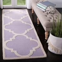 "Safavieh Handmade Moroccan Cambridge Lavender/ Ivory Wool Rug - 2'6"" x 12'"