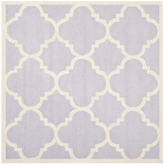 Safavieh Handmade Moroccan Cambridge Lavender/ Ivory Wool Rug (8' Square)
