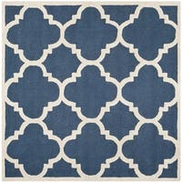 Safavieh Handmade Moroccan Cambridge Navy/ Ivory Wool Rug - 4' Square