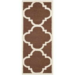 Safavieh Handmade Moroccan Cambridge Dark Brown/ Ivory Wool Rug (2'6 x 12')