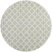 Safavieh Handmade Moroccan Chatham Grey/ Ivory Wool Rug - 9' x 9' round