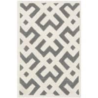 Safavieh Handmade Moroccan Chatham Dark Grey/ Ivory Wool Rug with Durable Backing - 2'3 x 5'