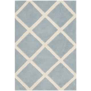 Safavieh Handmade Moroccan Chatham Blue/ Ivory Wool Accent Rug (2'3 x 5')