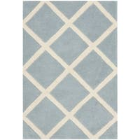 "Safavieh Handmade Moroccan Chatham Blue/ Ivory Wool Accent Rug - 2'3"" x 5'"