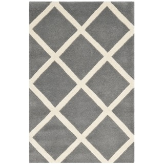 Safavieh Handmade Moroccan Chatham Dark Grey/ Ivory Wool Geometric-pattern Rug (2'3 x 5')