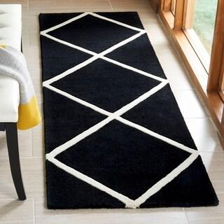 Safavieh Handmade Moroccan Chatham Black/ Ivory Wool Rug (2'3 x 5')