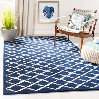 "Safavieh Handmade Moroccan Chatham Geometric-pattern Dark Blue/ Ivory Wool Rug (2'3"" x 5')"