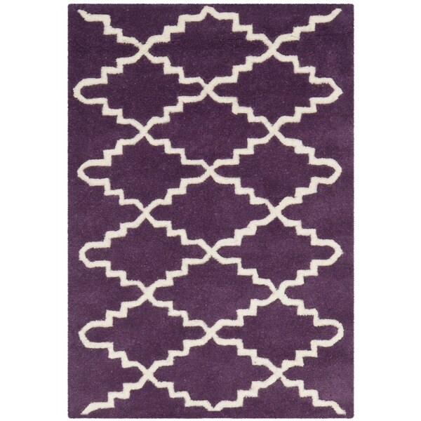 Safavieh Handmade Moroccan Chatham Purple/ Ivory Wool Accent Rug - 2'3 x 5'