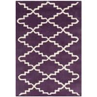 Safavieh Handmade Moroccan Chatham Purple/ Ivory Wool Accent Rug (2'3 x 5') - 2'3 x 5'