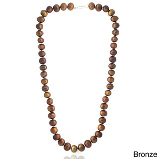 Glitzy Rocks Colored Freshwater Pearl 24-inch Necklace (8-9 mm) (Option: Bronze)