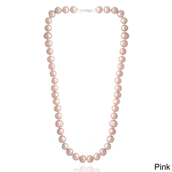 70/'/' 6MM Pink Green Round Freshwater Pearl Necklace
