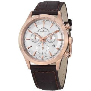 Zeno Men's 6662-5030Q-PGR-F2 'Gentlemen' Silver Dial Brown Leather Strap Chrono Watch