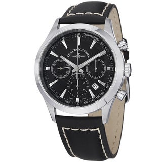 Zeno Men's 6662-7753-G1 'Vintage Line' Black Dial Black Leather Strap Chrono Watch