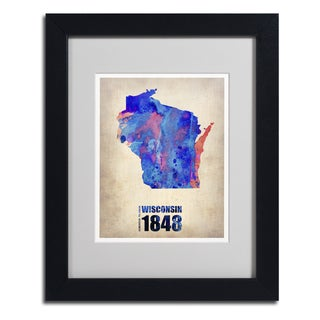Naxart 'Wisconsin Watercolor Map' Framed Matted Art