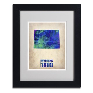 Naxart 'Wyoming Watercolor Map' Framed Matted Art
