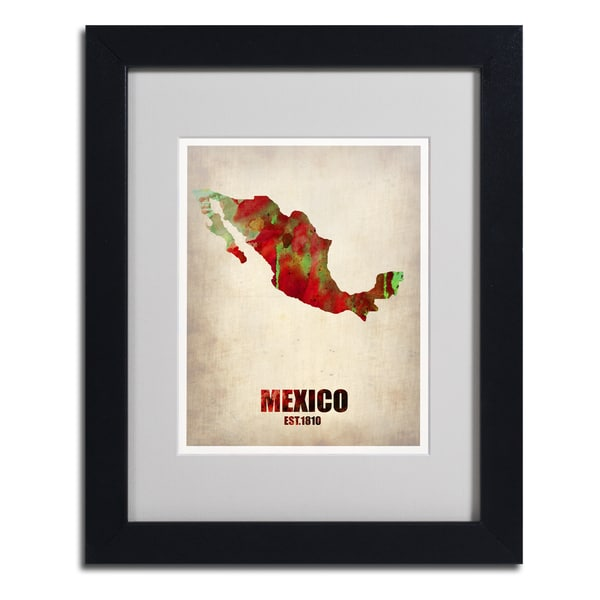 Naxart 'Mexico Watercolor Map' Framed Matted Art
