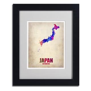 Naxart 'Japan Watercolor Map' Framed Matted Art