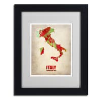 Naxart 'Italy Watercolor Map' Framed Matted Art