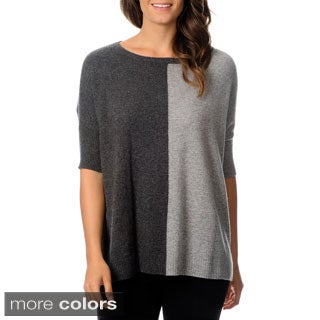 Ply Cashmere Women's Elbow Sleeve Colorblock Sweater