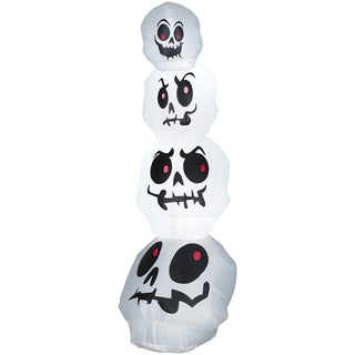 8-foot Airblown Stacked White Skulls