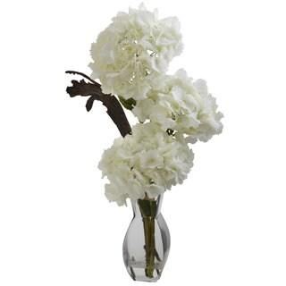Triple Hydrangea and Vase Floral Arrangement