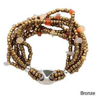 1 World Sarongs Women's Stretch Beaded Bracelet with Stainless Steel Accent (Indonesia)