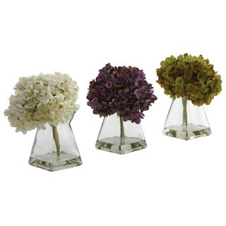 Nearly Natural 3-piece Hydrangea and Vase Set